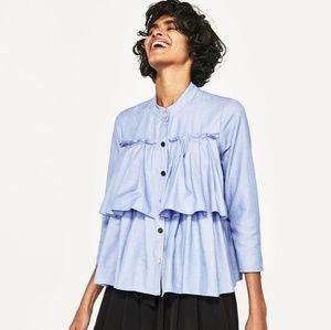 Zara blue tiered ruffle button snap top